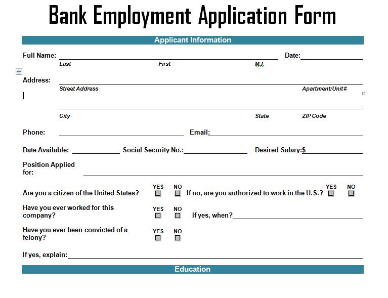 Bank Employment Application Form Template
