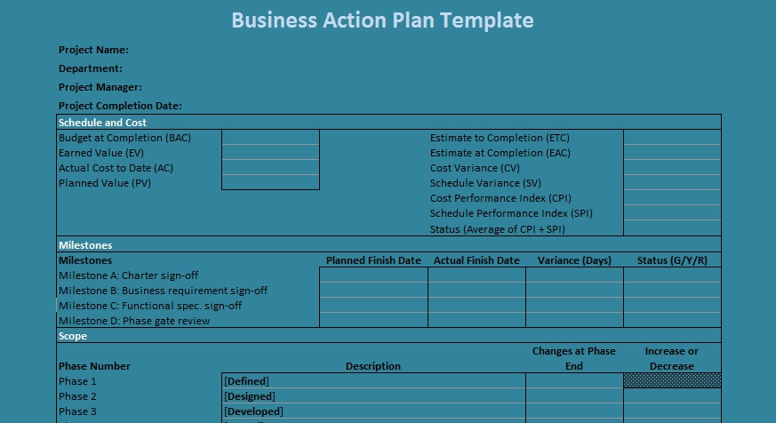 Get Professional Business Action Plan Template Excel - Project