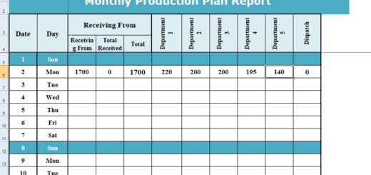 Excel Format of Production Planning