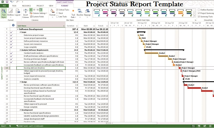 microsoft project status report template project management