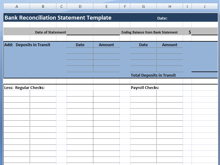 download bank reconciliation statement template project