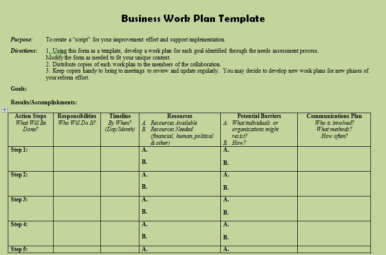 Description Of Business Action Plan Template  Projectemplates