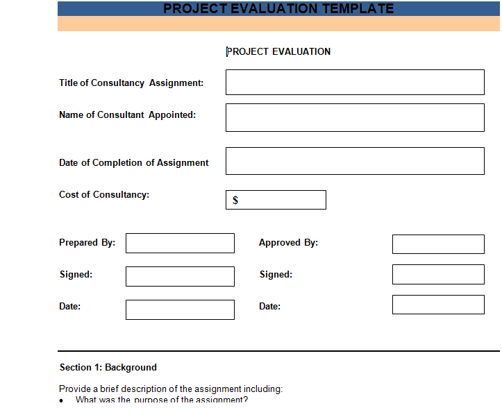 Attractive Get Free PROJECT EVALUATION TEMPLATE