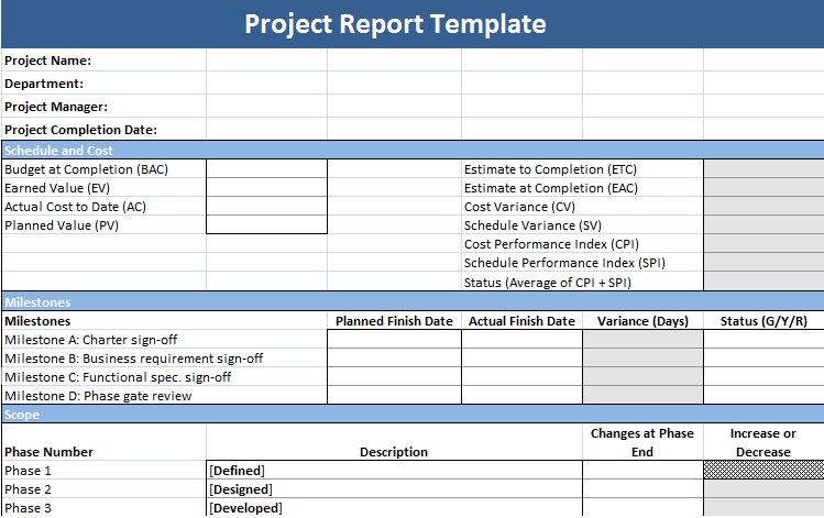 Sample project report for project management – IT Report Template
