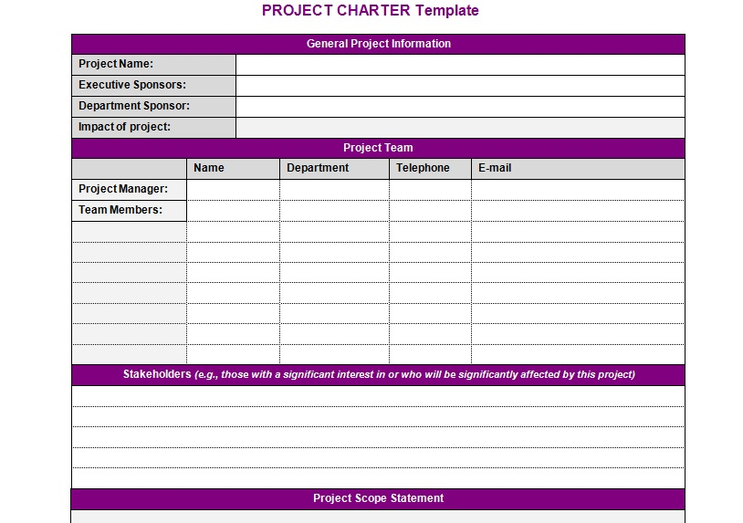 Project charter template excel bing for Software project charter template