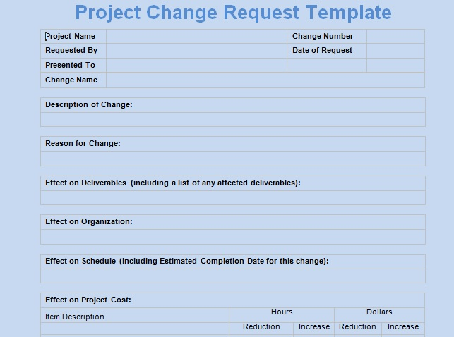 Get Change Request Template - Project Management Templates And