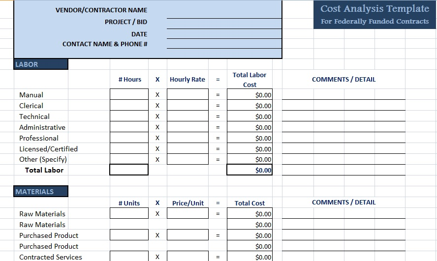 Professional Cost Analysis Template  Project Management Templates