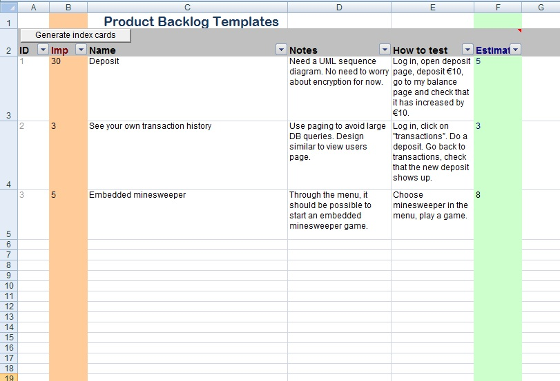 Get Product Backlog Template Project Management Excel Templates