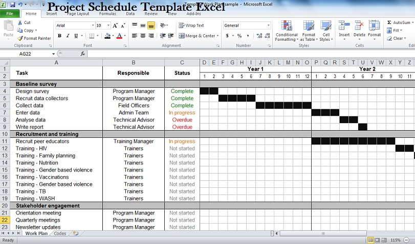 Project schedule template lisamaurodesign for Project schedule template xls