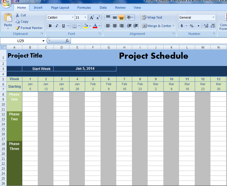 Excel Project Schedule Template