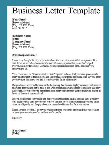 Get Business Letter Template Word - Project Management Templates