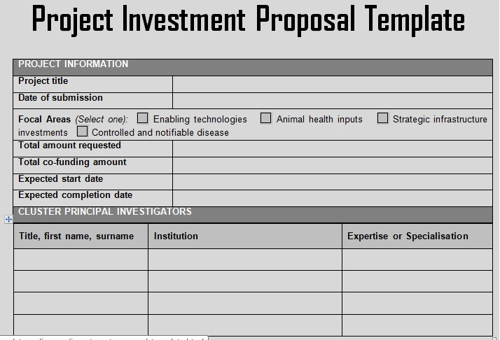 Investment Proposal Format Of Project Investment Proposal Template
