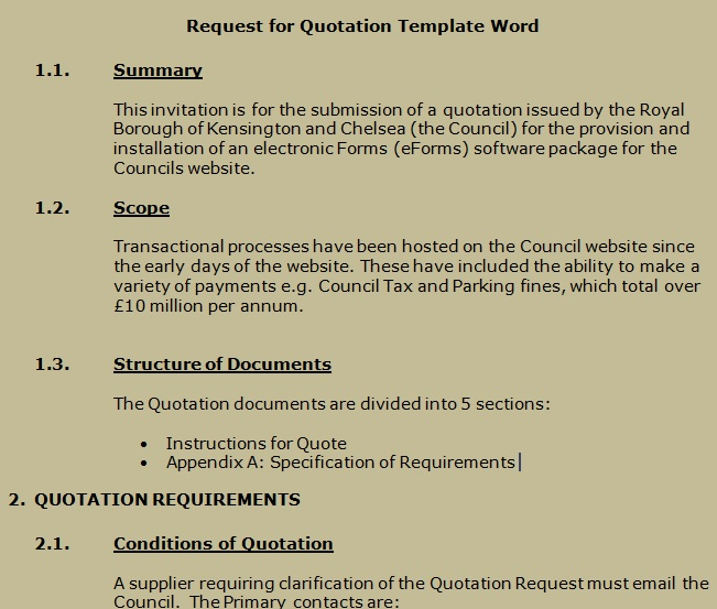 Get request for quotation template word projectemplates for Rfq format template