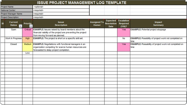 Download issue project management templates projectemplates for Project management issues log template