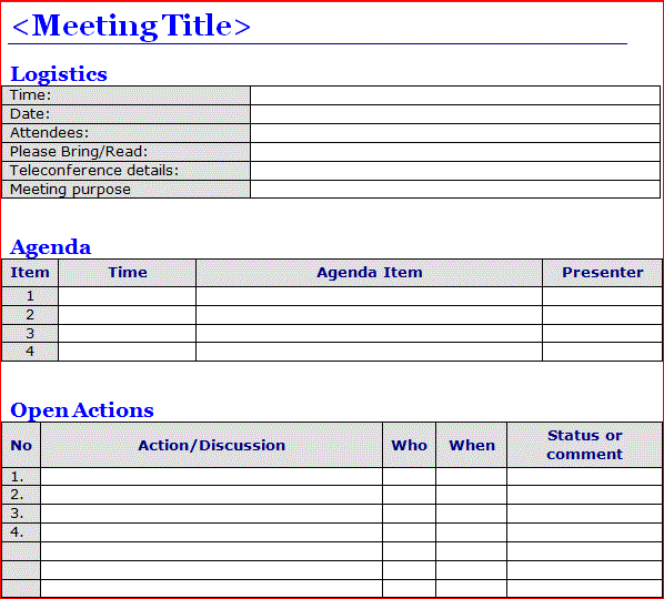 Minutes of Meeting Template Word | Projectemplates
