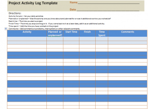Project Activity Log Excel Template