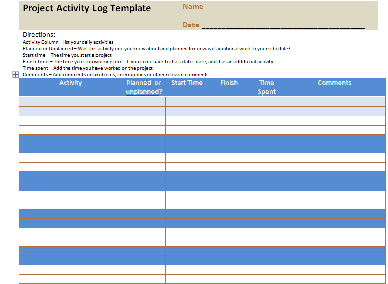 Project activity log excel template project management for Project activity plan template