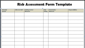 Risk Assessment Form Templates in WORD Excel