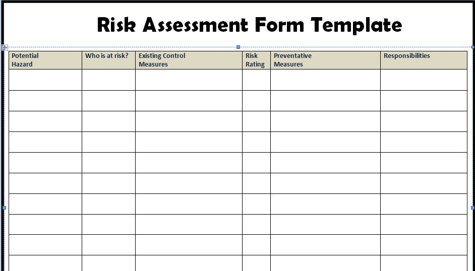 Risk assessment form templates in word excel project for Risk control self assessment template