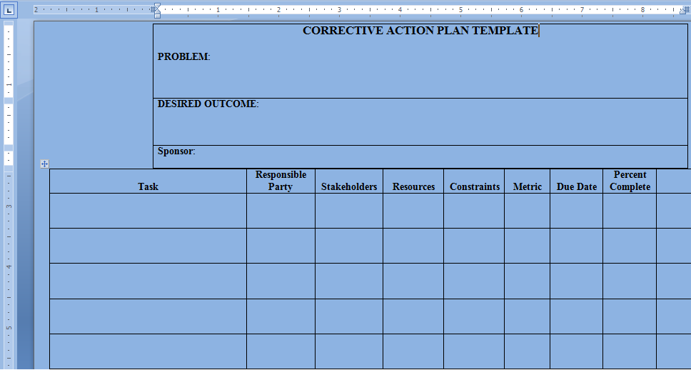 Corrective Action Plan Template  Project Management Action Plan Template