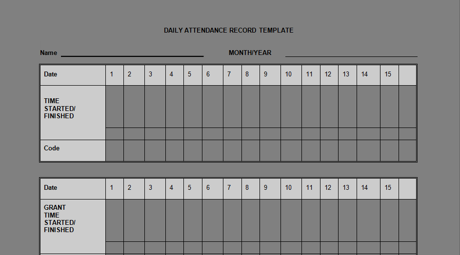 Daily Staff Attendance Record Templates