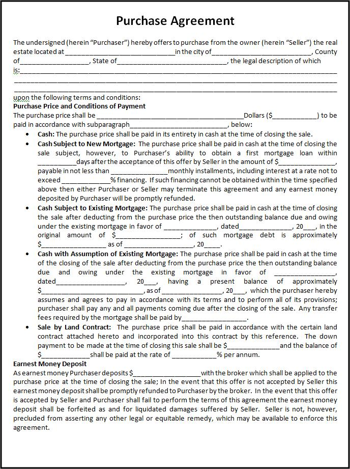 Purchase Agreement Template In Word Doc