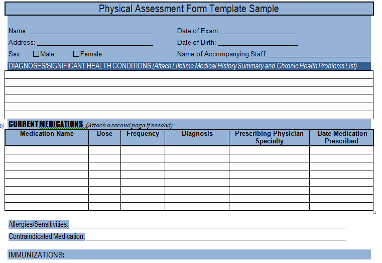 physical assessment form template sample