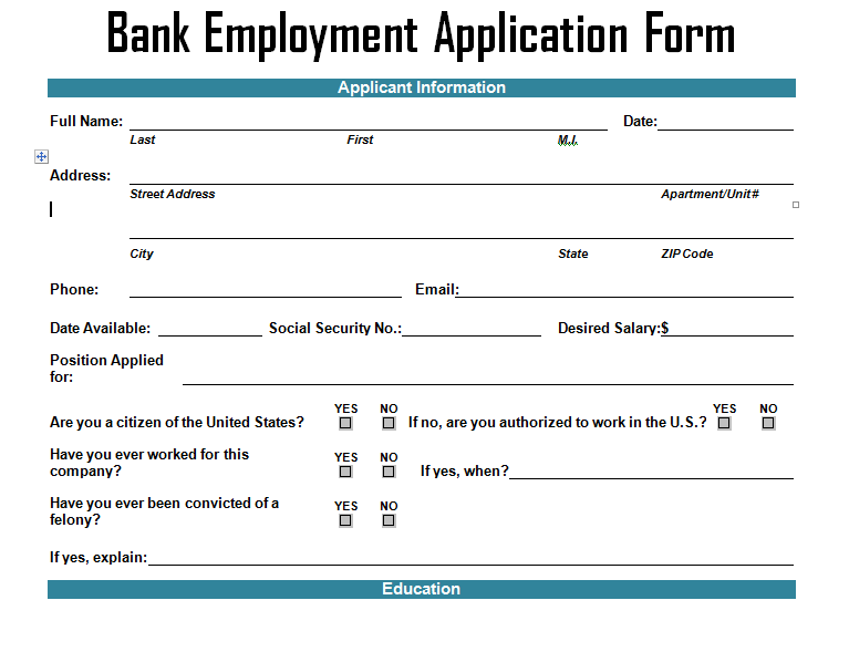 Bank Employment Application Form Template