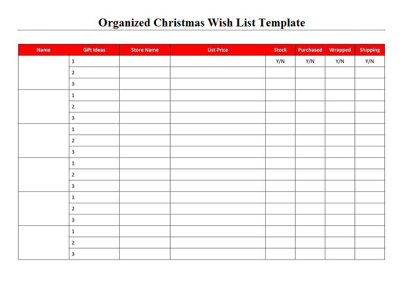 Organized Christmas Wish List Template