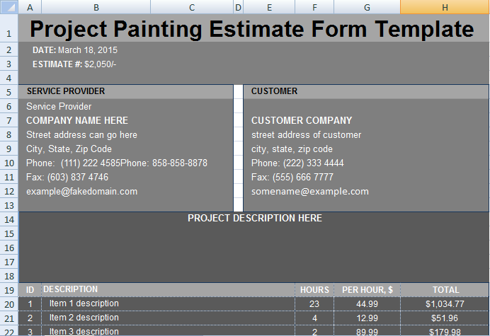 project painting estimate template project management excel templates. Black Bedroom Furniture Sets. Home Design Ideas