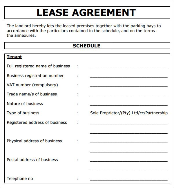Project Lease Agreement Template