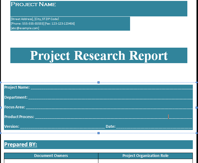 Project Research Report Template Format