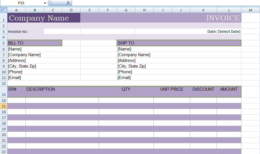 Microsoft Excel Billing Invoice Template xls