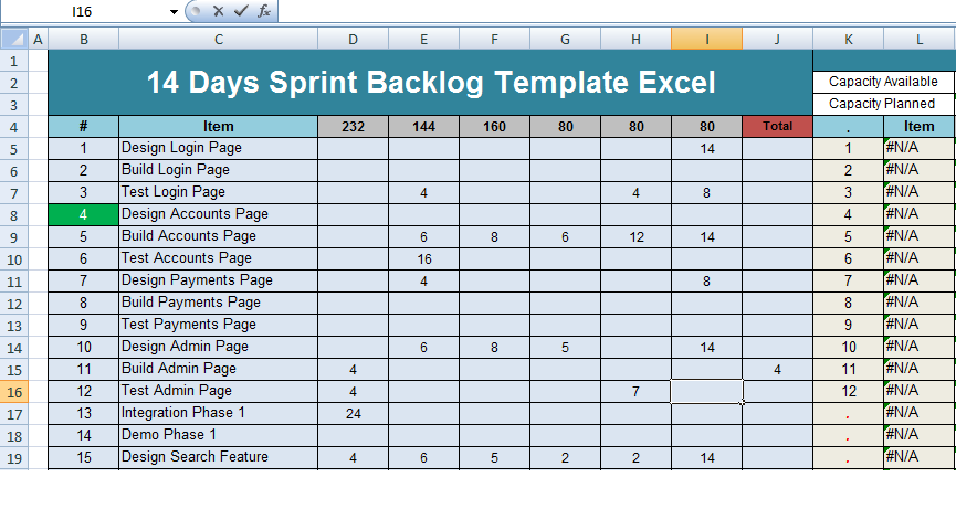 get 14 days sprint backlog template excel project. Black Bedroom Furniture Sets. Home Design Ideas