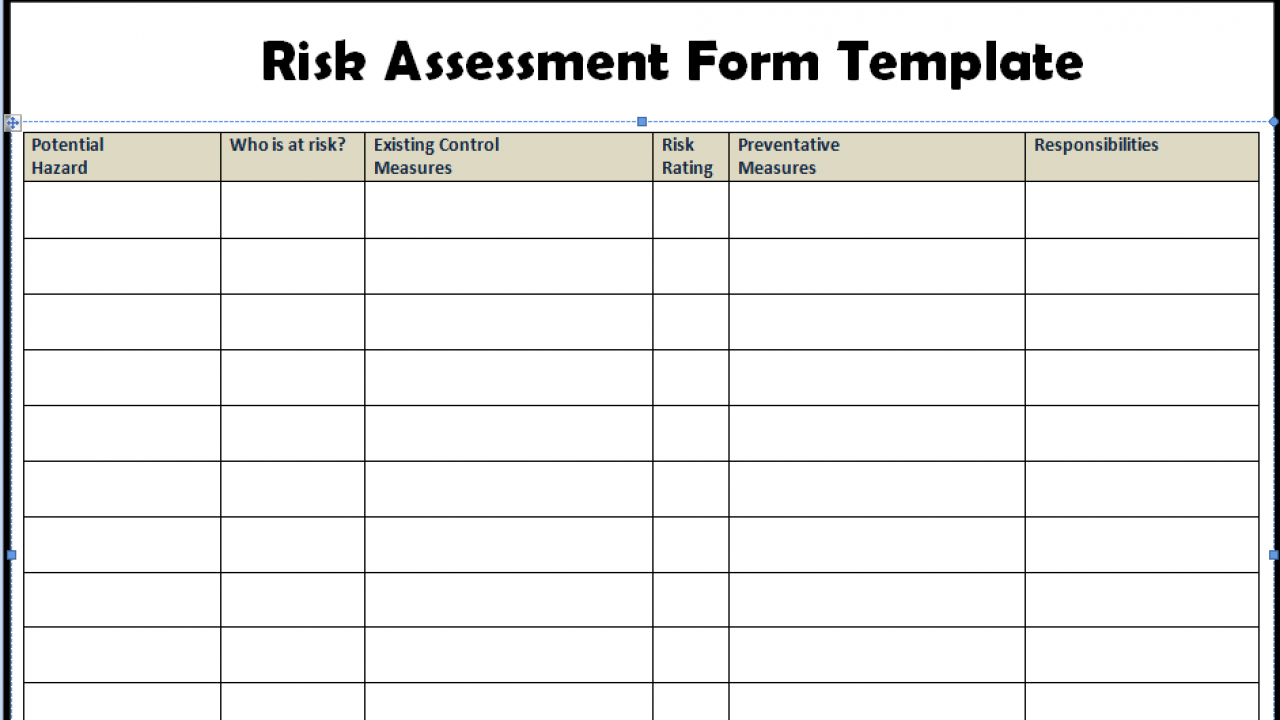 Risk Assessment Form Templates in WORD Excel   Projectemplates