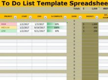To Do List Template Spreadsheet Excel