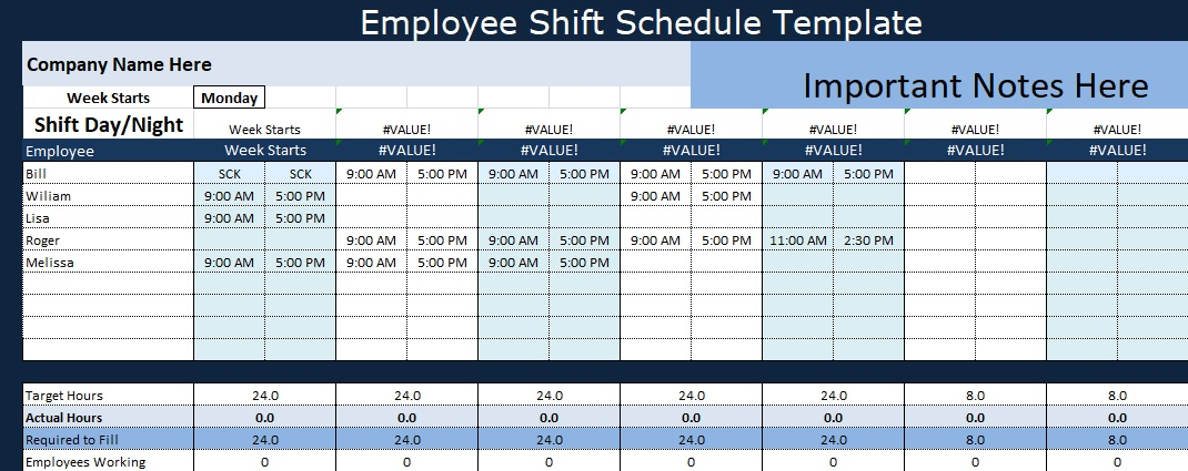 Employee shift schedule template projectemplates for Hourly employee schedule template