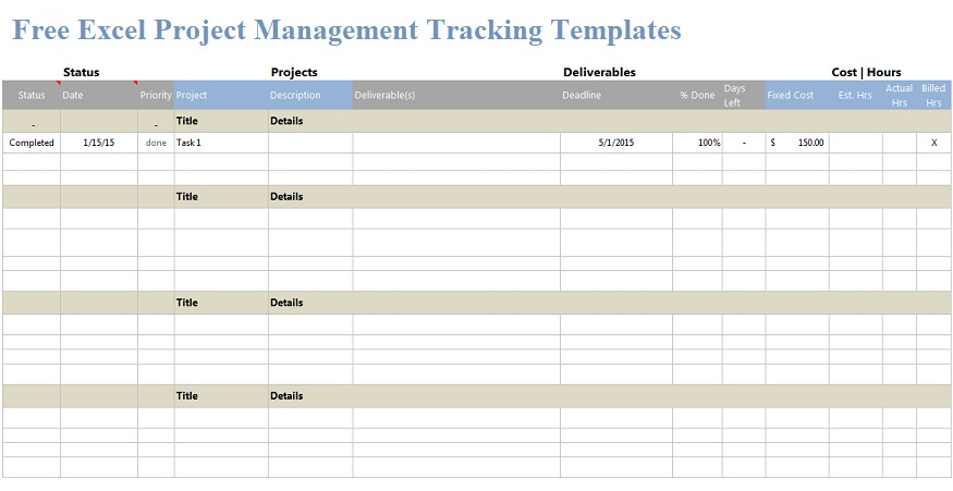 Free Excel Project Management Templates | Projectemplates