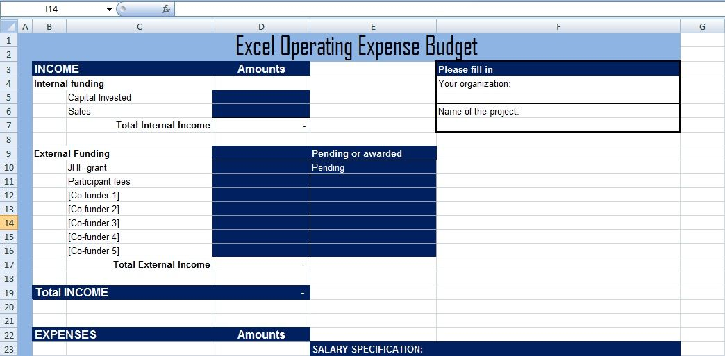 Project Operating Expense Budget Template